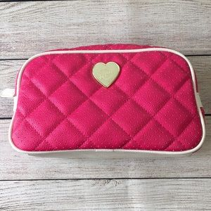 Betsey Johnson Pink Heart Cosmetic Bag